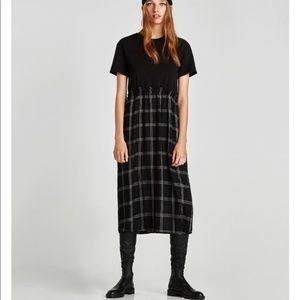 Zara Checked Combination Black Plaid Midi Dress